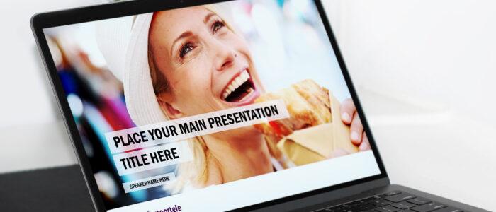 laptop met daarop foto van lachende vrouw in powerpoint template