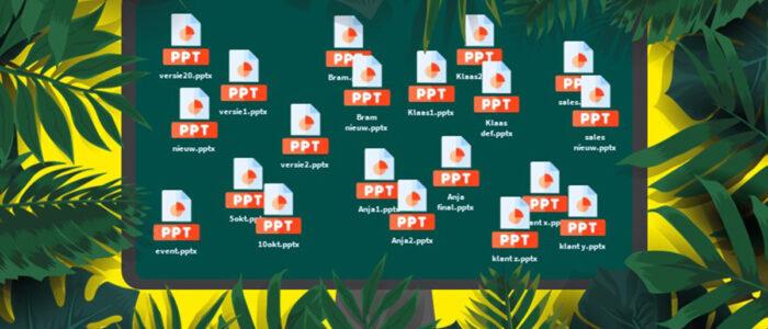 afbeelding van computerscherm met daarop heel veel powerpoint presentaties, tussen tropische planten