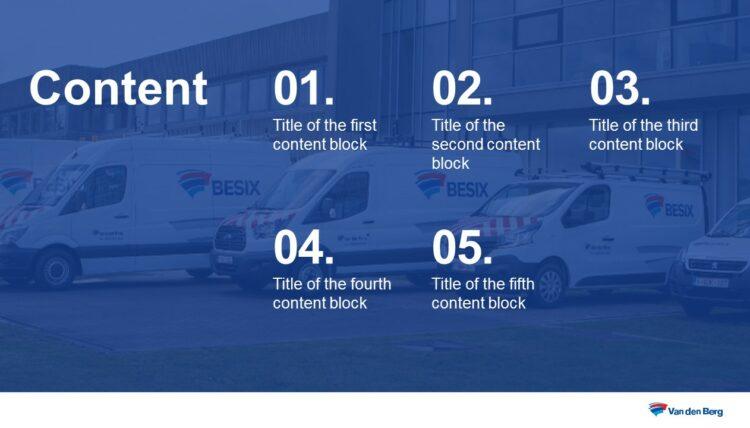 PowerPoint slide uit professionele template van Besix Van den Berg