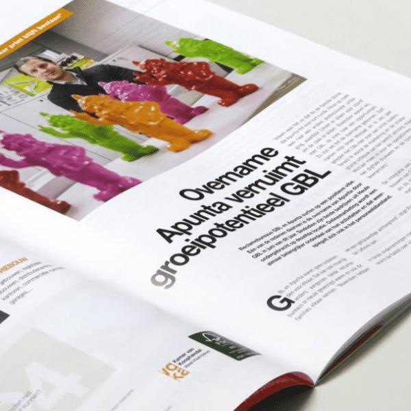voka magazine ligt open op pagina met artikel over GBL die Apunta overneemt