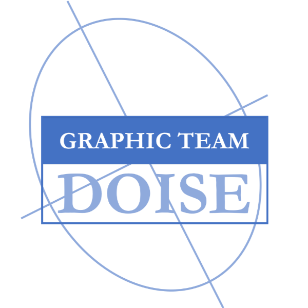 logo graphic team doise, blauw vereenvoudigd kompas