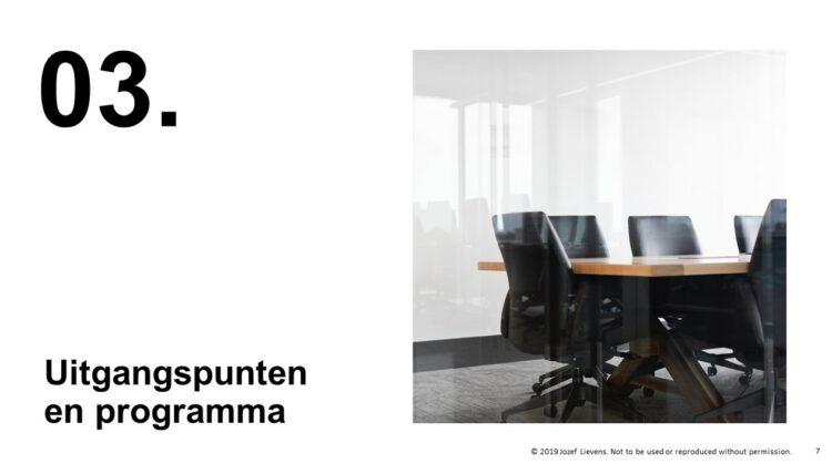 visuele upgrade van PowerPoint slide uit aangeleverde presentatie van Roots Advocaten
